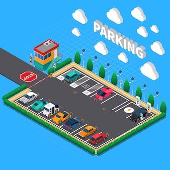 Loodrecht parkeerterrein met plug in elektrische voertuigen ecologische laadboxen bijbehorende cabine isometrische samenstelling