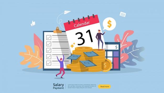 Looninkomen concept. salarisuitbetaling jaarlijkse bonus. uitbetaling met papier, rekenmachine en personage.