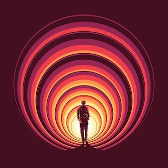 Loop door de cirkelportaalillustratie