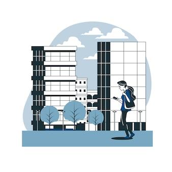 Loop in de illustratie van het stadsconcept