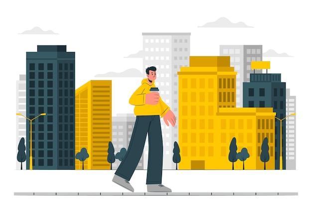 Loop in de stad concept illustratie