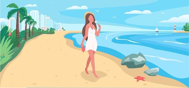 Loop op strand egale kleur. vrouw alleen in de buurt van de oceaan. zelfzorg voor vrouwen. resort voor recreatie. vrouwelijke toeristische 2d stripfiguren met hawaii landschap op achtergrond