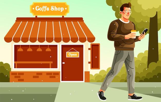 Loop weg na het kopen van koffie in de coffeeshop