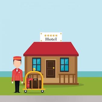 Loopjongen die in het karakter van het hotel werkt