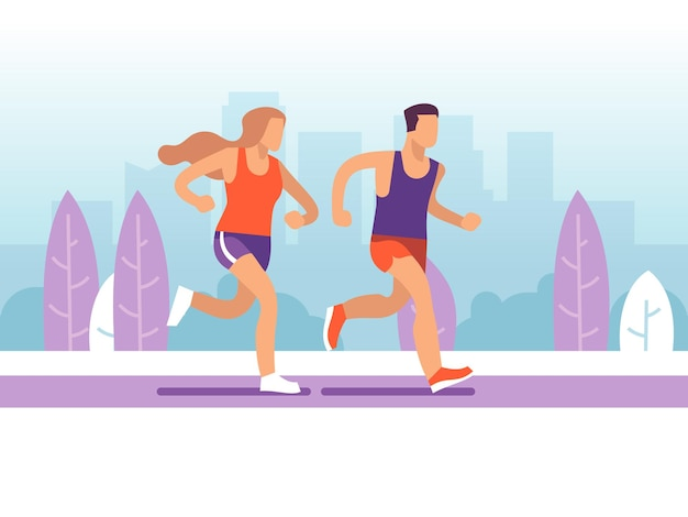 Lopend paar. man en vrouw joggen in het park, ochtend actieve trainingsmarathon