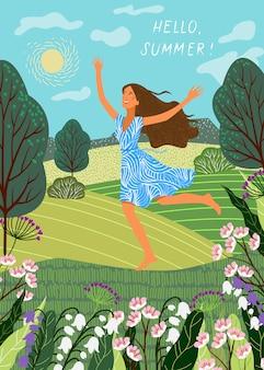 Lopend vrolijk meisje op de achtergrond van velden en weiden