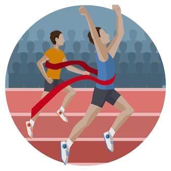 Lopende competitie creatieve vlakke stijl concept vectorillustratie, twee atleten op sportcompetitie, runner wint de eerste plaats, voor covers en posters
