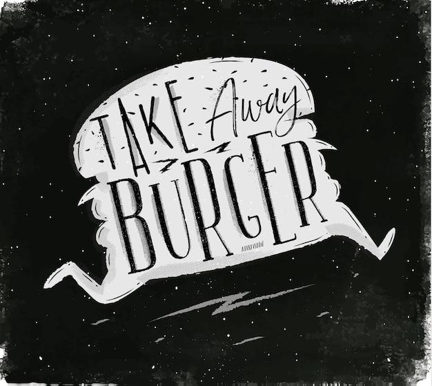 Lopende hamburger in vintage stijl belettering mee te nemen hamburger tekening met krijt op schoolbord