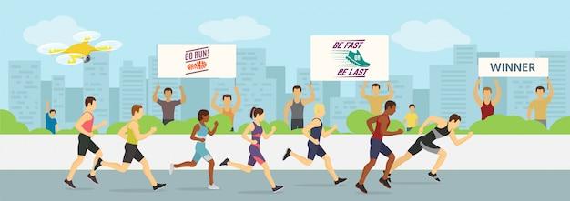 Lopende jogging marathons competities race illustratie. sport lopers groeperen mannen en vrouwen in beweging. lopende man die als eerste finisht. stad .