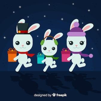Lopende konijnen kerstmis achtergrond