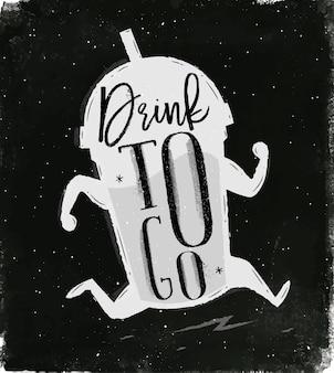 Lopende kop in uitstekende stijl van letters voorziende drank om te gaan tekening met krijt op bord