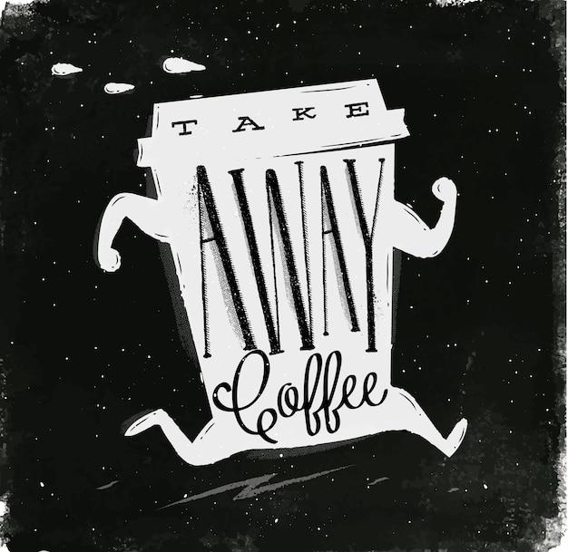 Lopende kop koffie in uitstekende stijl van letters voorziende koffie haalt tekenings met krijt weg