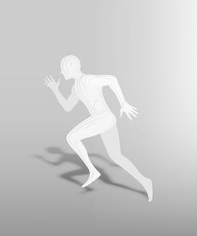 Lopende mens in document kunststijl met 3d laag vectorilllustration