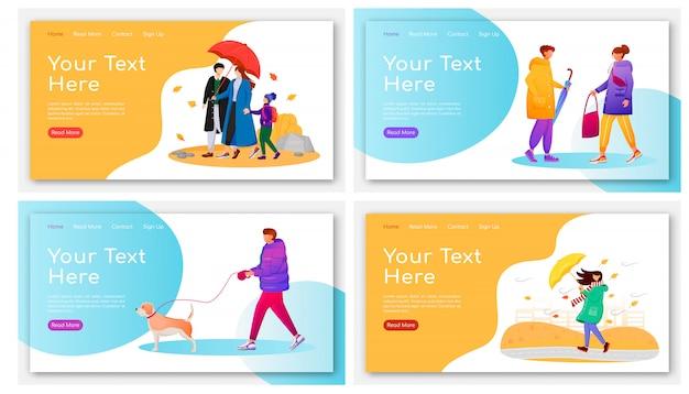 Lopende mensen bestemmingspagina kleurensjablonen instellen. mensen met homepagina-indelingen van paraplu's. regenachtige dag één pagina website-interface met stripfiguren. web voor nat weer, webpagina