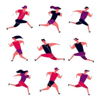 Lopende mensen groeperen in beweging. jogging mannen vrouwen trainen buiten. de agenten treffen voor de marathongezondheid van de sportconcurrentie voorbereidingen die in ochtend lopen