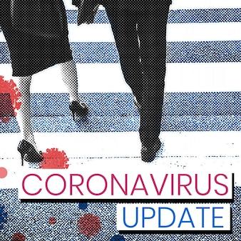 Lopende mensen houden afstand en beschermen tegen covid-19-virussen mockup vector
