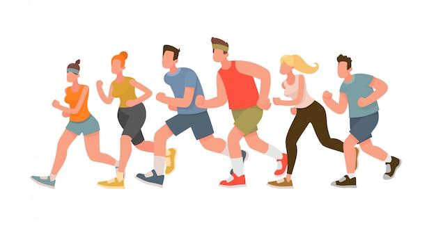 Lopende mensen. marathonloop