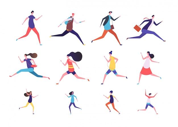 Lopende mensen. platte man en vrouw, zakelijke personen en kinderen rennen. flat runner jogging tekens instellen