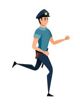 Lopende politieagent dragen donkerblauwe broek lichtblauw shirt cartoon karakter ontwerp platte vectorillustratie
