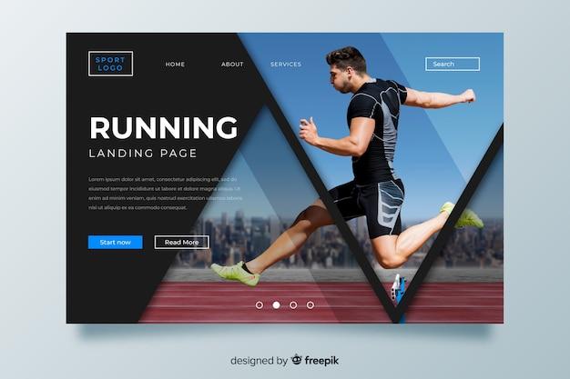 Lopende sportlandingspagina met afbeelding