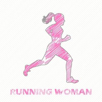 Lopende vrouw illustratie. creatieve en sportieve afbeelding