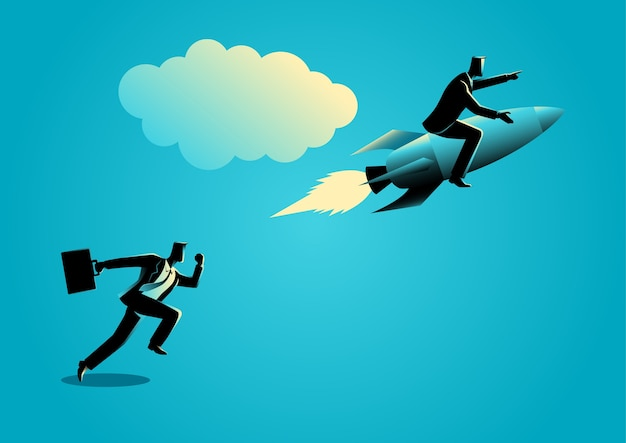 Lopende zakenman racen met een zakenman op raket