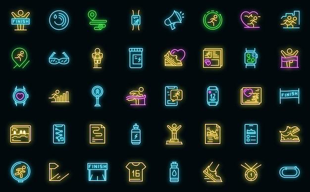 Loper app-pictogram. overzicht runner app vector pictogram neon kleur op zwart