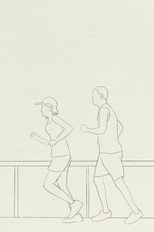 Lopers achtergrond eenvoudige lijntekening