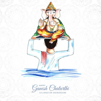 Lord ganesh chaturthi indian festival viering kaart achtergrond