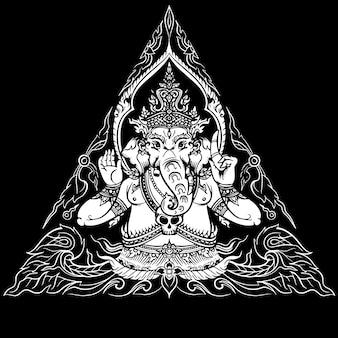 Lord ganesha op zwarte achtergrond