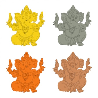 Lord ganesha vector cartoon set van goud, steen, brons en houten idool.