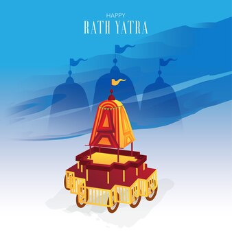 Lord jagnath gunstige rath yatra-kaart Premium Vector