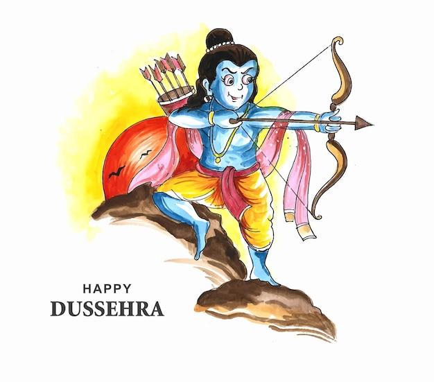 Lord rama happy dussehra festival wensen kaart aquarel achtergrond