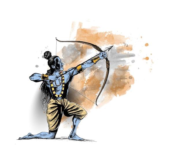 Lord rama met pijl die ravana doodt in navratri-festival van india-poster met hindi-tekst dussehra