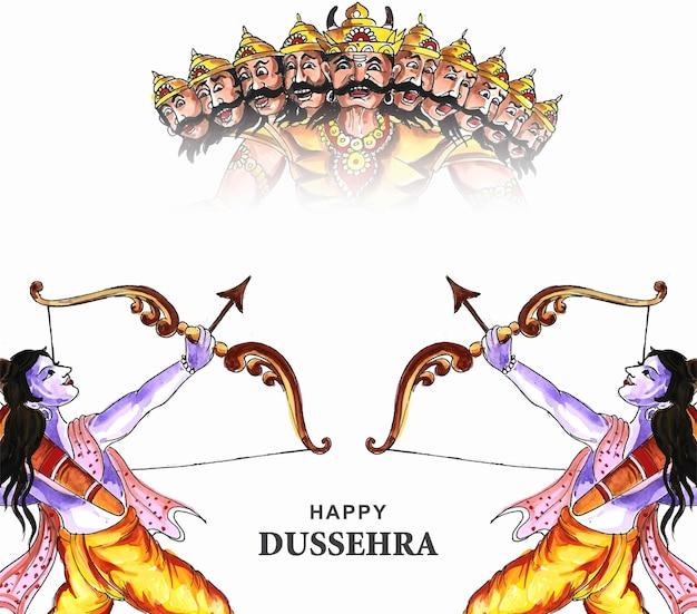 Lord rama met pijl die ravana doodt op de achtergrond van de navratri-festivalkaart