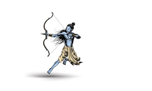 Lord rama met pijl india poster met hindi tekst dussehra, hand getrokken schets vectorillustratie.
