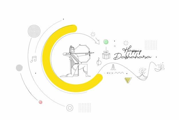 Lord rama met pijl ravana doden in navratri festival van india poster met hindi tekst dussehra, line art vectorillustratie.