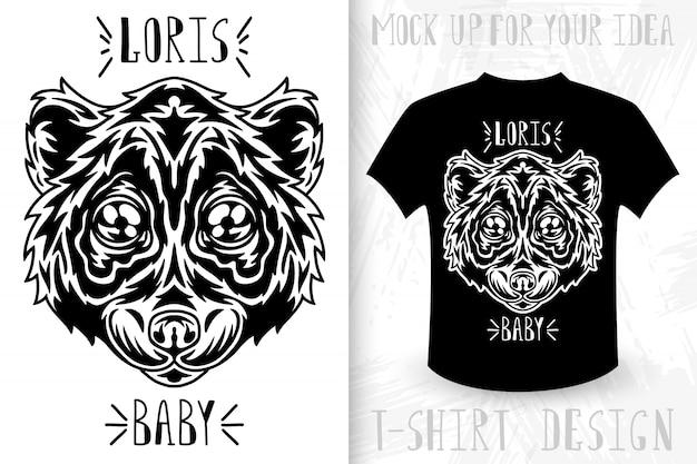 Loris gezicht. t-shirt print in vintage zwart-wit stijl.