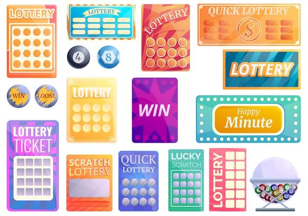 Loterij iconen set, cartoon stijl