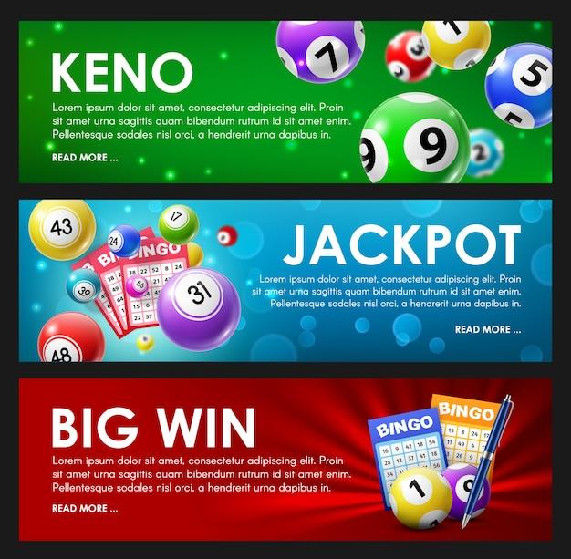 Loterij loterij, keno, bingo, jackpot grote win lotto spelballen en kaarten met geluksnummers.