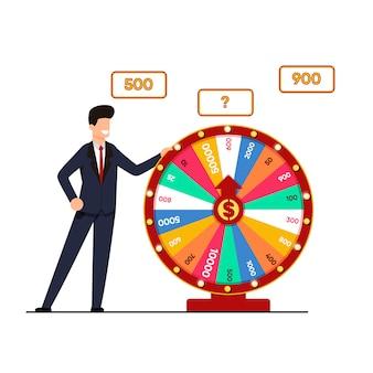 Loterij met wiel fortuin vectorillustratie.