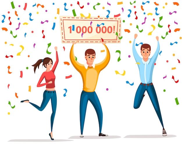 Loterij winnaar. vrouwen en man staan met winnaarbanner, 1000000. gelukkige mensen. win miljoen. stripfiguur . illustratie op witte achtergrond