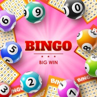 Loterijballen en kaartjes, 3d bingoposter voor lotto, bingo of keno gokspellen.