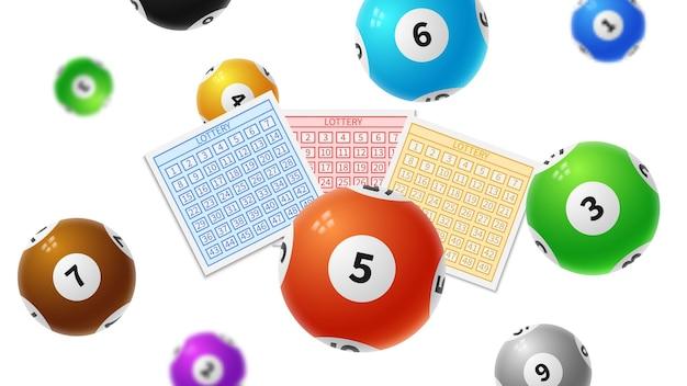 Loterijballen. overwinningskaartjes voor bingo-gaming, keno-loterijspel.