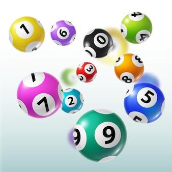 Loterijballen van bingo, lotto, keno gokspellen