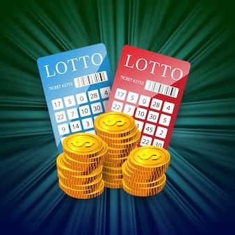Loterijbiljetten en gouden muntenstapels. gokken bedrijfsreclame
