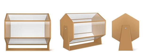 Loterijmachine, houten loterijtrommel met transparant glas dat op wit wordt geïsoleerd