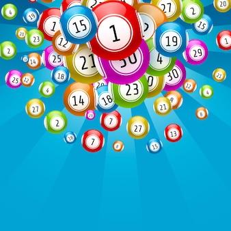 Loterijspel, ballen met getallen, op een gekleurde achtergrond