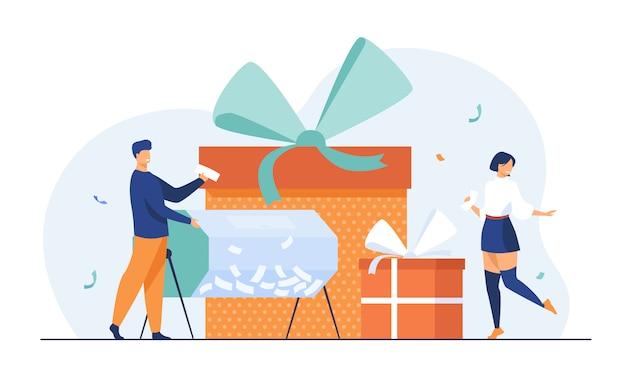 Loterijwinnaars met loterijtrommel en geschenkverpakkingen