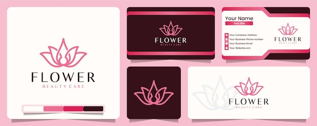 Lotus bloem lijn kunst stijl yoga salon en spa balans logo ontwerp en visitekaartje